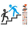 builder business help icon with valentine bonus vector image