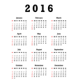 Calendar for 2016 vector image