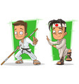 cartoon kung fu boys character set vector image vector image