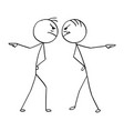 cartoon of two angry man hand pointing in vector image