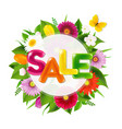 color sale banner ball from flowers with butterfly vector image