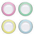 Colorful plate with gold rims on white background vector image vector image