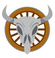 cow skull on a wheel wild west theme tattoos vector image vector image