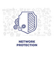 creative of big shield with line icons header on vector image
