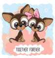 cute cartoon puppies boy and girl vector image vector image