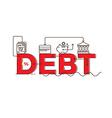 Debt word lettering typography design vector image vector image