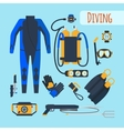 Diving equipment icons vector image