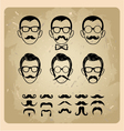 Faces with Mustaches sunglasseseyeglasses and a vector image vector image