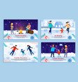 family vacation and recreation outdoor banner set vector image