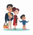 family walk with shopping basket in supermarket vector image
