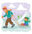 Father rolls his son on a sled in the snow vector image