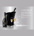glass of black wine and a bottle of champagne vector image