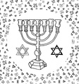 Hand drawn sketch of menorah traditional Jewish vector image