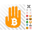 hand hold bitcoin icon with bonus vector image vector image