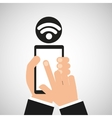 hand holding smartphone internet wifi icon vector image