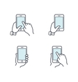 hands holding smartphone flat line icon vector image vector image