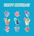 happy birthday set cute funny animals stickers vector image