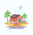 house in the village - modern flat design style vector image vector image