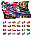 huge flag consisting different countries vector image