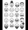 icon set 20 mans faces vector image vector image