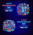 independence day neon banners vector image vector image