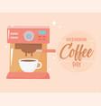 international day coffee machine maker vector image vector image