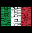 italy flag collage of filled rectangle icons vector image vector image