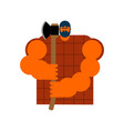 lumberjack strong isolated woodcutter and axe big vector image vector image