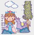 magic world little princess hand drawing cartoon vector image