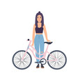 modern girl standing with bicycle cartoon flat vector image