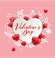 paper cut flowers and red hearts vector image