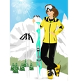 pretty woman standing with mountain skis vector image vector image