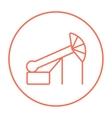 Pump jack oil crane line icon vector image vector image