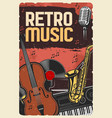 retro music poster instruments and vinyl vector image vector image