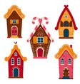 set cute colorful fairy tale homes vector image vector image