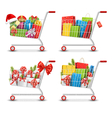Set of Christmas Sale Colorful Shopping Carts with vector image