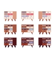Set of high retro sideboards with drawers and vector image vector image