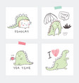set of interior posters with dino baby animals vector image vector image