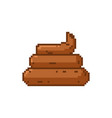 shit pixel art turd are pixelated poop isolated vector image