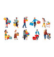 shopping people trendy cartoon characters vector image