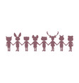 silhouette eight children holding hands with vector image