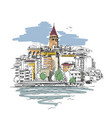 sketch of galata tower in istanbul and seagulls vector image