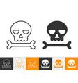 skull simple black line icon danger vector image