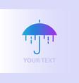 stylized umbrella water drops symbol icon logo vector image