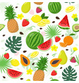 summer fruits set and tropical leaves seamless vector image