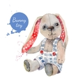 watercolor bunny toy vector image vector image