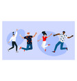 young people jumping with raised hands vector image vector image