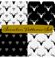 black and white abstract seamless patterns set vector image