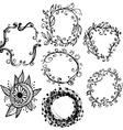 Circle floral borders Sketch frames hand-drawn vector image