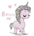 cute shy pink unicorn vector image